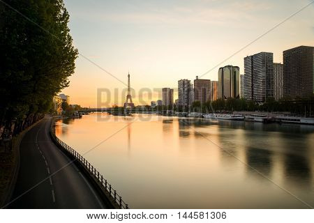Paris skyline with Eiffel tower and Seine river in Paris France.Beautiful sunrise in Paris France.