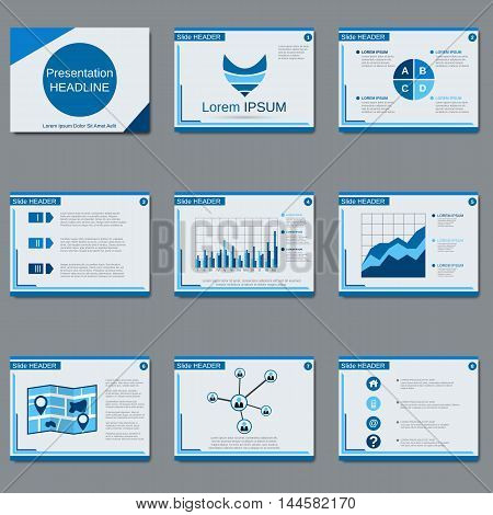 Business presentation, slide show vector design templates in blue