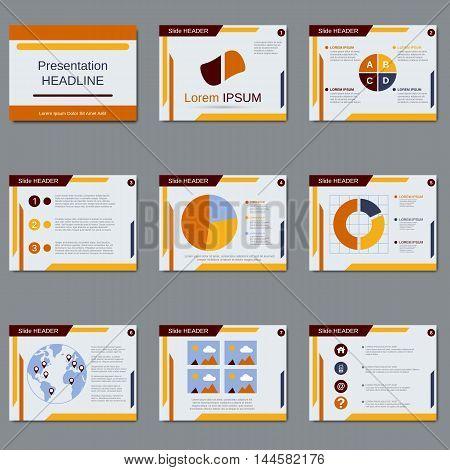 Business presentation, slide show vector design templates in orange