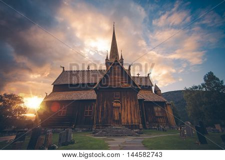 Lom Stave Church. Stave Church Situated in Lom Municipality in the Gudbrandsdal District of Norway Europe.