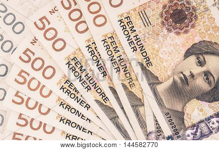 Pile of Norwegian Krone. Norwegian Currency Financial Background.