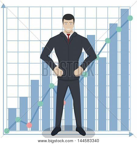 Business theme illustration. Young businessman knows how to do business. This character is self-assured and ready for achievements.