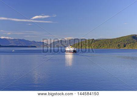 Ferry Sailing on to the Alaska Marine Highway near Juneau Alaska
