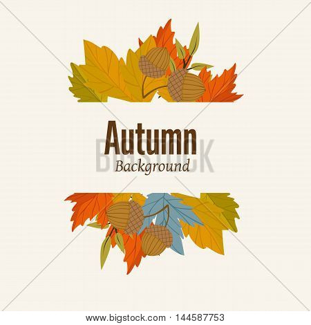 Autumn leaves fall on border vector illustration. Background with hand drawn autumn leaves. Design elements. Autumn leaves concept. Different autumn leaves. Abstract leaves.