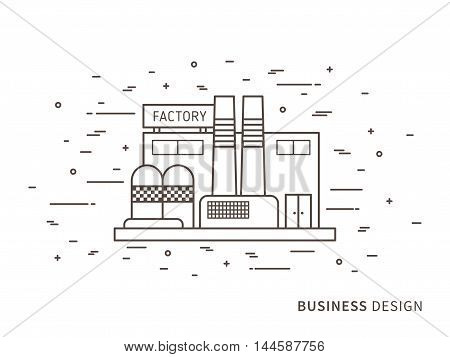 Linear Flat Exterior Landscape Design Illustration Of Factory