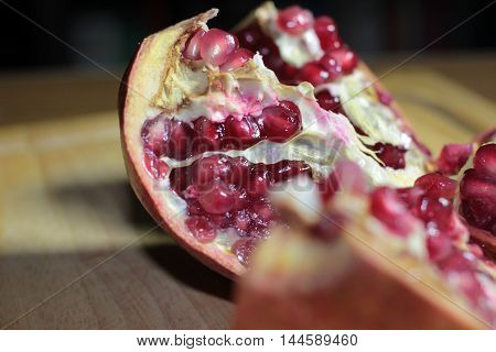 view of a beautiful mature tropical fruit pomegranate