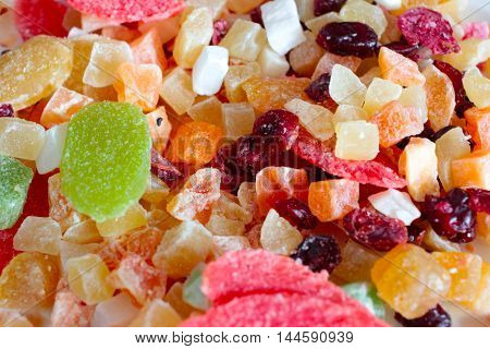 scene image sweet candied dried tropical fruits