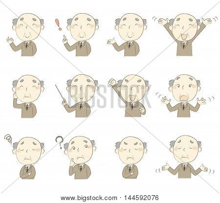 Set of senior man in business suit with various poses and emotions