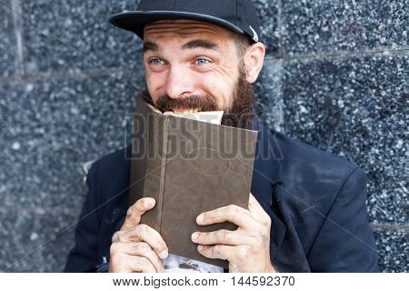 Vagrant with book