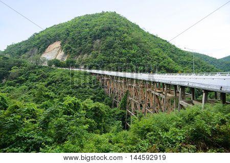 Pho Khun Pha Mueang Bridge (aka. Huaitong Bridge ) in Petchaboon Thailand