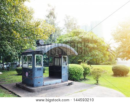 Old pavilion made of bogie train in Vachirabenjatas public park at BangkokThailand.