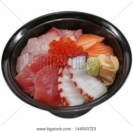chirashi, bowl, rice, donburi, sushi, fish, food, salmon, meal, japanese, tuna, roe, wasabi, fresh, asian, cuisine, sea, raw, mix, bass, shrimp, sashimi, closeup, healthy