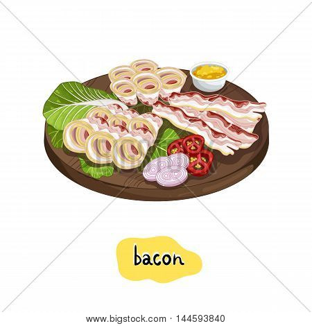 Barbecue bacon assorted on cutting board isolated on white background vector illustration. Roasted meat, bbq concept. BBQ bacon with bbq meat. Barbecue food concept. Grilled bacon slice.