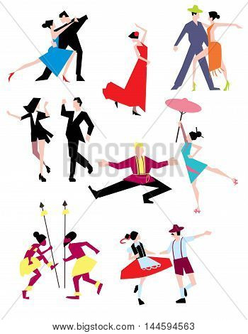 Traditional ethnic dances. Dancing couple in national costumes isolated on white background. Dances of people of the world vector illustration. Dancing couple isolated. Different dances. Hot dances. Cartoon dancer people. Dancer sihouette.