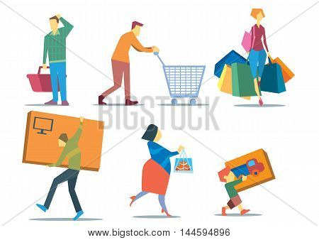 People with shopping bags. People shopping concept. Illustration set of people holding shopping bags, shopping basket, shopping cart, big box, packing box. Family shopping characters in flat. Shopping time. Shopping people with shopping bags.