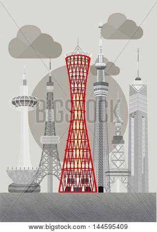 Travel Japan famous tower series vector illustration - Kobe Port Town