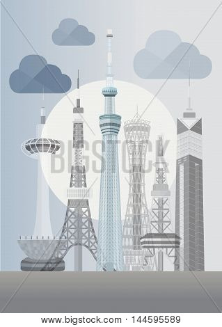 Travel Japan famous tower series vector illustration - Skytree