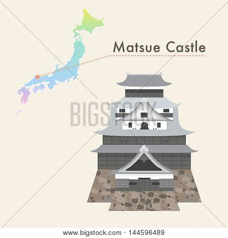 Travel Japan famous castle series vector illustration - Matsue Castle