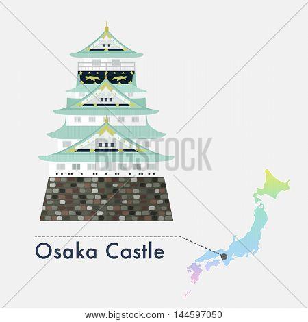 Travel Japan famous castle series vector illustration - Osaka Castle