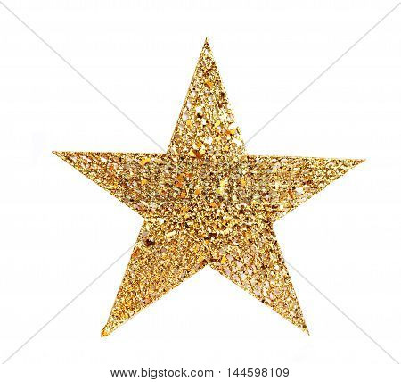 Decorative Christmas festive Golden five-pointed shining star. Glittering object isolated on white background. Decoration for house design element.