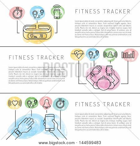 Wearable electronics, gadget fitness or activity tracker bracelet that reads the state of the body during daily life and sports activities in the gym or outdoors. Set icons performed in a linear style