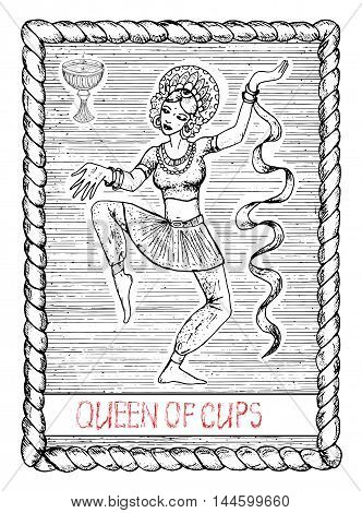 Queen of cups. The minor arcana tarot card, vintage hand drawn engraved illustration with mystic symbols. Beautiful dancing woman, asian dancer