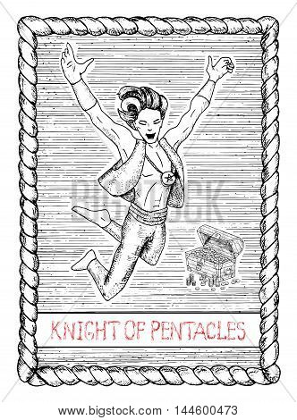 Knight of pentacles. The minor arcana tarot card, vintage hand drawn engraved illustration with mystic symbols. Handsome man, jumping boy, actor or performer