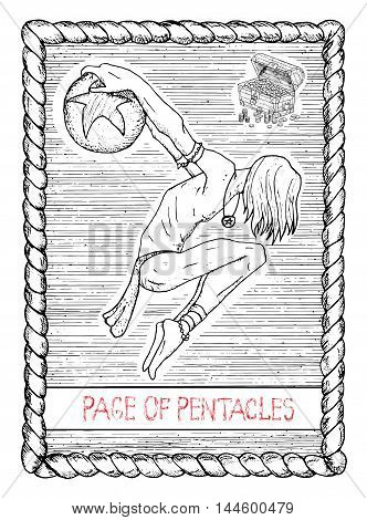 Page of pentacles. The minor arcana tarot card, vintage hand drawn engraved illustration with mystic symbols. Circus actor or performer, handsome man, acrobat with ball