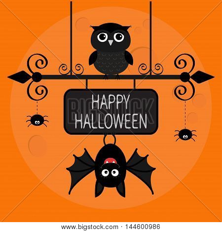 Happy Halloween card. Bat hanging on wrought iron sign board. Owl bird spider dash line web. Cute cartoon baby character set. Flat design. Orange background Big moon. Vector illustration