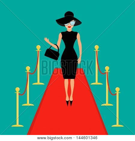 Red carpet and rope barrier golden stanchions turnstile Isolated Woman in black hat bag sunglasses waving. Rich beautiful celebrity girl. Fashion model. Green background. Flat design Vector