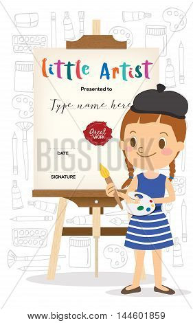 little artist cartoon standing in front of wooden easel with painting tools doodle in background kids diploma child painting course certificate template