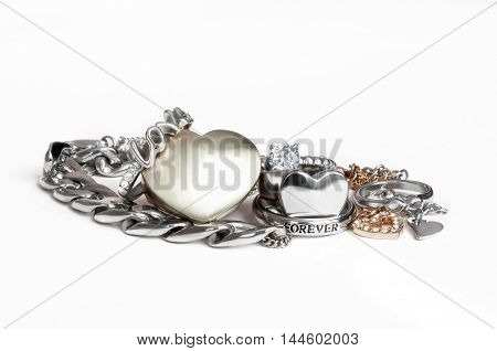 Jewelry for Valentine's day on white background