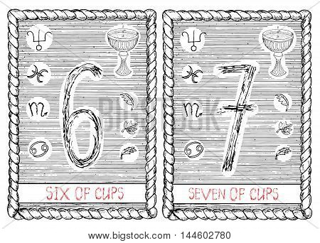 Six and seven of cups. The minor arcana tarot card, vintage hand drawn engraved illustration with mystic symbols.