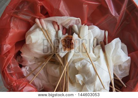 infectious wastes in red bag at hospital