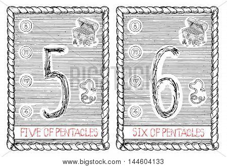 Five and six of pentacles. The minor arcana tarot card, vintage hand drawn engraved illustration with mystic symbols.