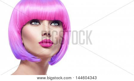 Beauty Fashion Model Portrait with Ombre hair bright color. Bob Short Haircut. Fringe Hairstyle. Hairdressing. Beautiful Glamour Girl with Short pink hair. Dyed hair, perfect makeup