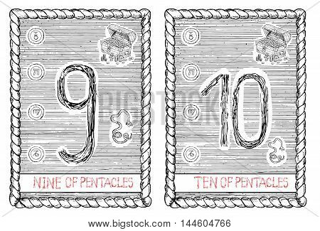 Nine and ten of pentacles. The minor arcana tarot card, vintage hand drawn engraved illustration with mystic symbols.