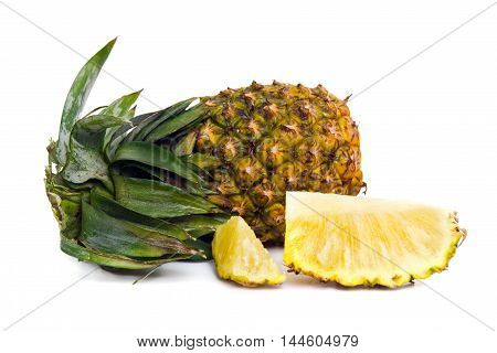 Fresh Pineapple With Slices Isolated On White
