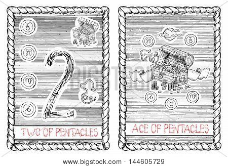 Two and ace of pentacles. The minor arcana tarot card, vintage hand drawn engraved illustration with mystic symbols.