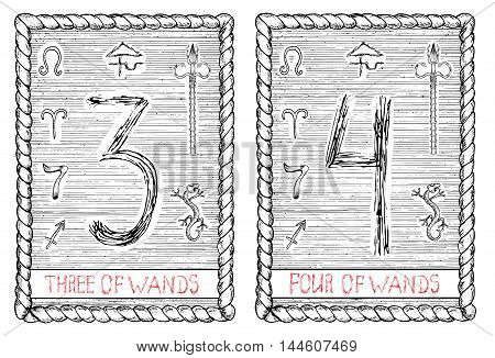 Three and four of wands. The minor arcana tarot card, vintage hand drawn engraved illustration with mystic symbols.
