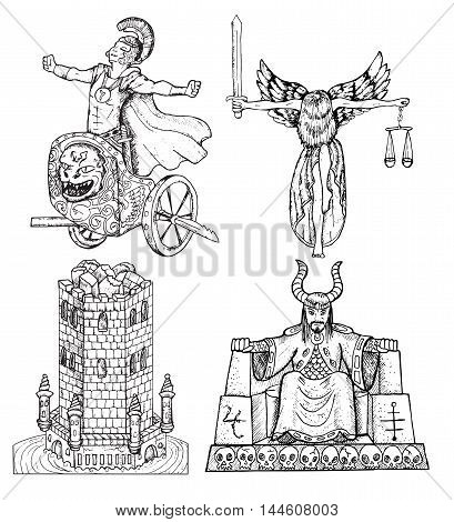 Design set with historical characters and objects: justice lady, emperor, warrior on chariot, tower. Hand drawn engraved graphic illustration with people.