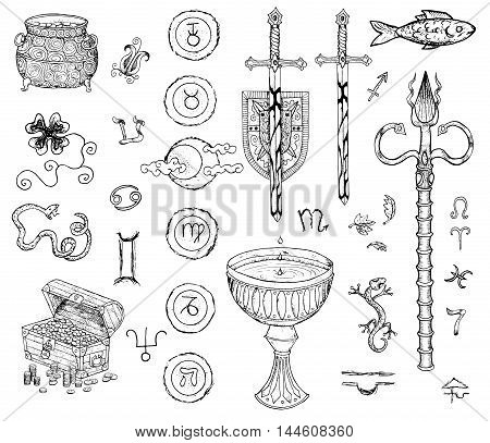 Graphic set with drawings of swords, magic wand, cup, treasures and mystic symbols. Hand drawn engraved collection.