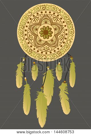 Hand-drawn mandala with dreamcatcher with feathers in brown, green and yellow colors. Ethnic illustration, tribal