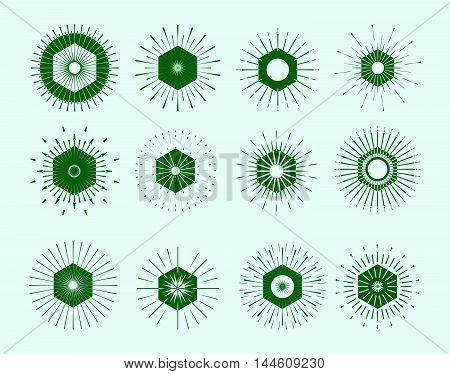 Retro Sun Burst Shapes. Vintage Logo, Labels, Badges. Vector Design Elements Isolated. Minimal Green