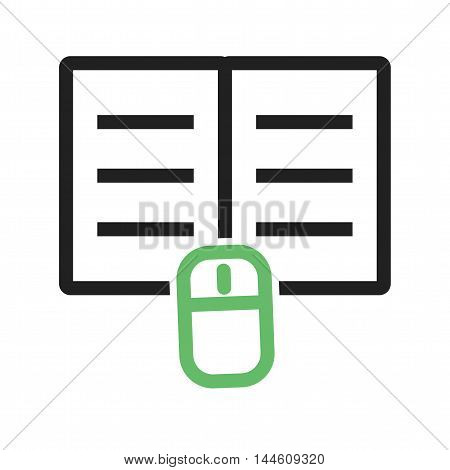 Click, download, book icon vector image. Can also be used for E Learning. Suitable for mobile apps, web apps and print media.