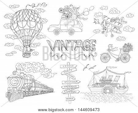 Design doodle set with old means of transportation. Vintage illustration of ship, train, plane and bicycle.