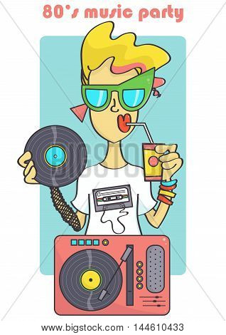 Fashionable, cute 80s style DJ girl in cool sunglasses and with vinyl record player.