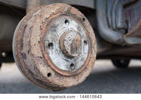 Closeup of an old rusty brake drum
