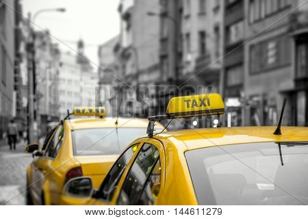 Yellow Taxi cars on the street in the down town