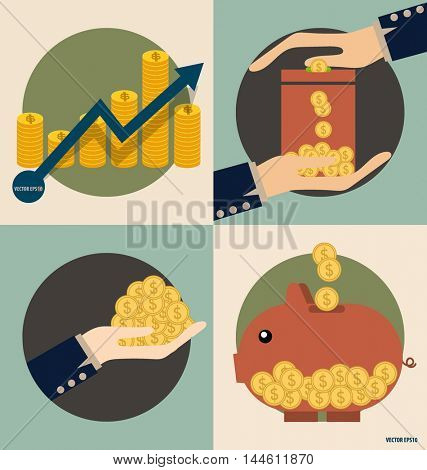 Business concept. Hand and Piggy bank with money coins. Vector illustration